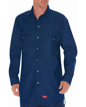 Dickies Flame Resistant Denim Work Shirt, Blue, hi-res