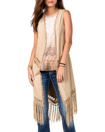 Miss Me Women's Run Wild Fringe Fashion Duster, , hi-res