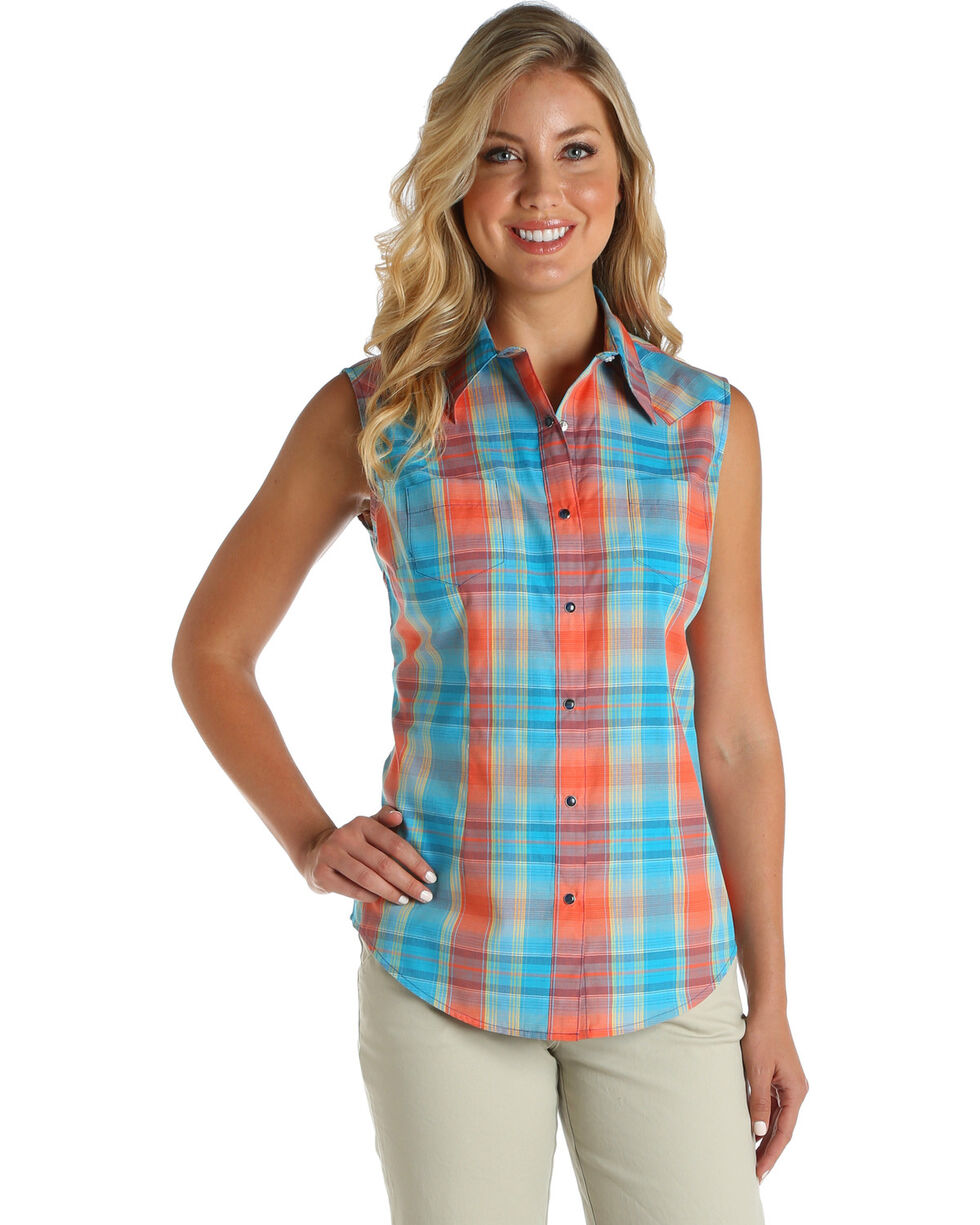 Wrangler Women's Coral Sleeveless Plaid Top | Tuggl