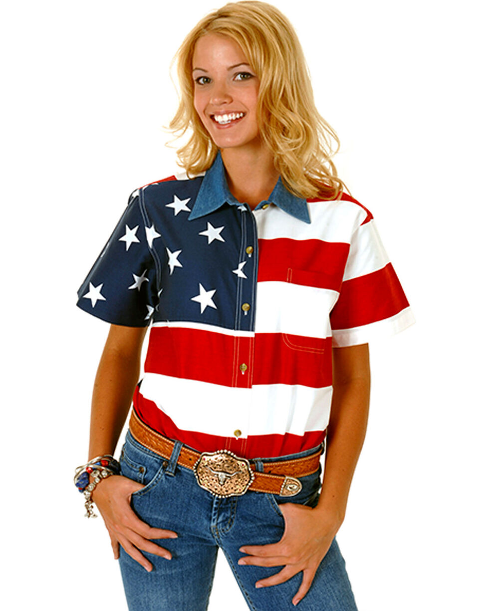 Roper Women's Short Sleeve American Flag Shirt, Patriotic, hi-res