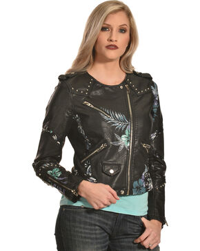 BLANKNYC Women's Black Embroidered Moto Jacket , Black, hi-res