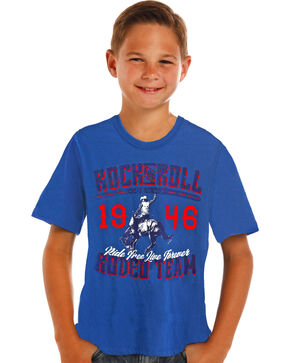 Rock & Roll Cowboy Boys' Blue Graphic Rodeo Team Tee, Blue, hi-res
