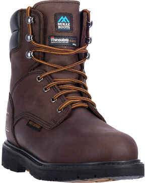 "McRae Men's 8"" Lace Up Waterproof Insulated Work Boot - Steel Toe, Dark Brown, hi-res"