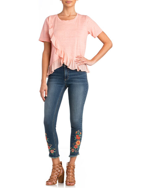 Miss Me Women's Ruffle Detail Top, Pink, hi-res