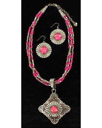 Blazin Roxx Multi-Strand Triangle Pendant Necklace & Earrings Set, , hi-res