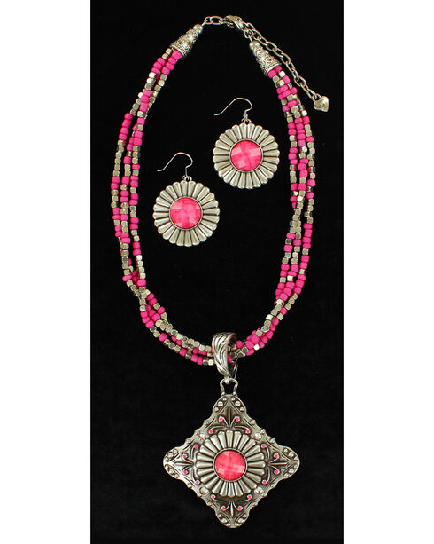 Blazin Roxx Multi-Strand Triangle Pendant Necklace & Earrings Set, Pink, hi-res