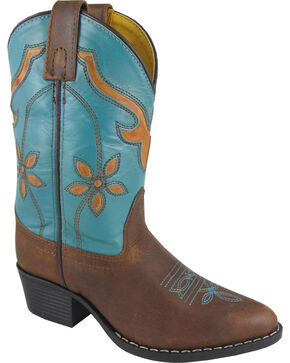 Smoky Mountain Girls' Cactus Flower Western Boots - Medium Toe, Brown, hi-res