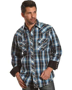 Ely Cattleman Men's Blue Textured Accent Stitch Plaid Shirt , Blue, hi-res