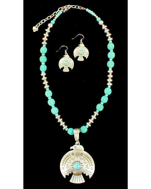 Blazin Roxx Women's Thunderbird Necklace & Earrings Set, Silver, hi-res