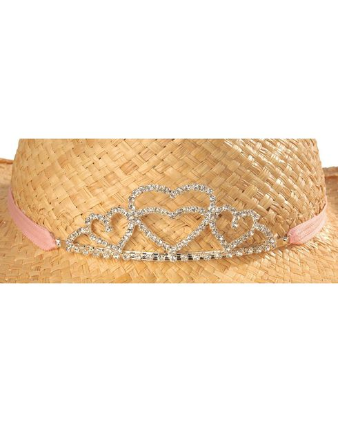 Girls' Rhinestone Hearts Tiara Raffia Cowboy Hat, Tan, hi-res