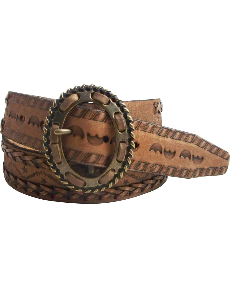 Cowgirls Rock Women's Tan Genuine Leather Belt , Tan, hi-res