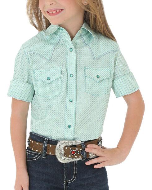 Wrangler Girls' Printed Short Sleeve Western Shirt, Turquoise, hi-res