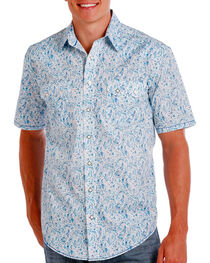 Rough Stock by Panhandle Men's Floral Short Sleeve Shirt, Blue, hi-res