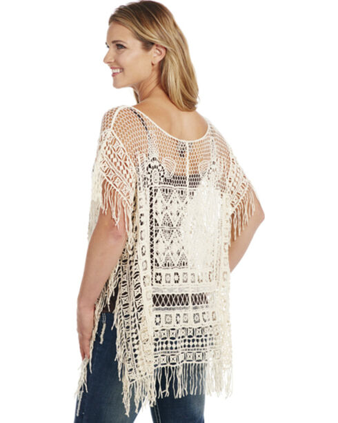 Cowgirl Up Women's Fringe Poncho, White, hi-res