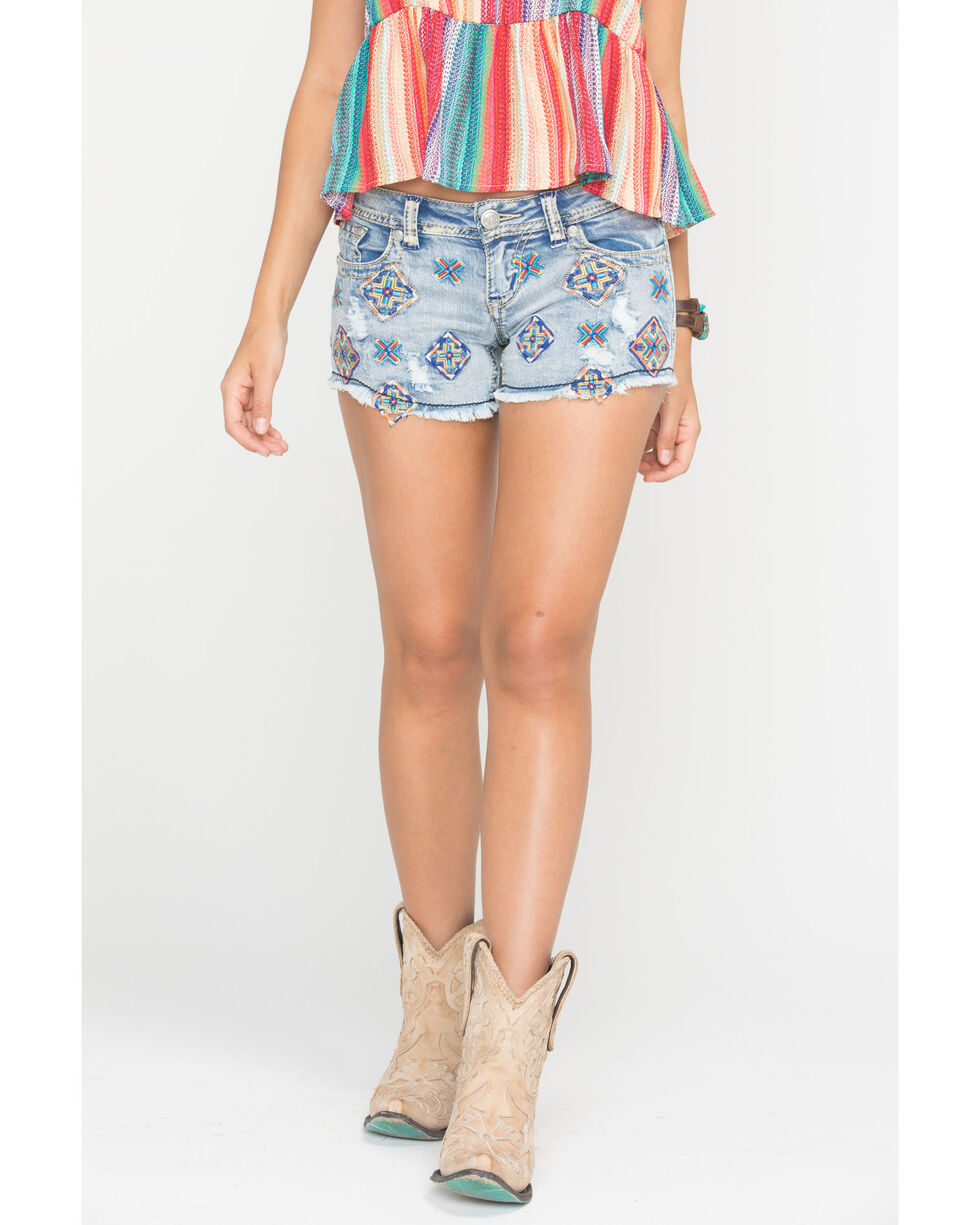 Grace in L.A. Women's Embroidered Pattern Shorts, Indigo, hi-res
