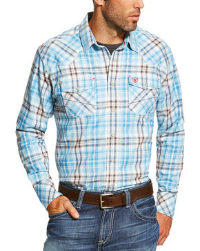 Ariat Men's FR Maddox Retro Long Sleeve Shirt, Blue, hi-res