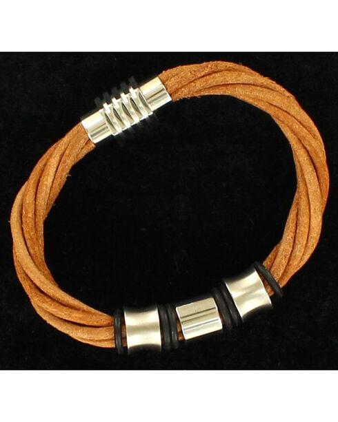 Twister Men's Four Strand Silver Bracelet , Brown, hi-res