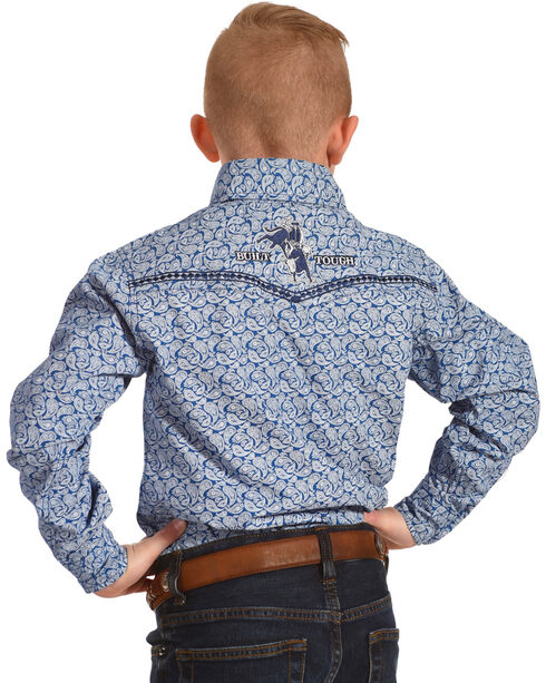 Cowboy Hardware Boys' Blue Mini Paisley Print Western Shirt , Blue, hi-res