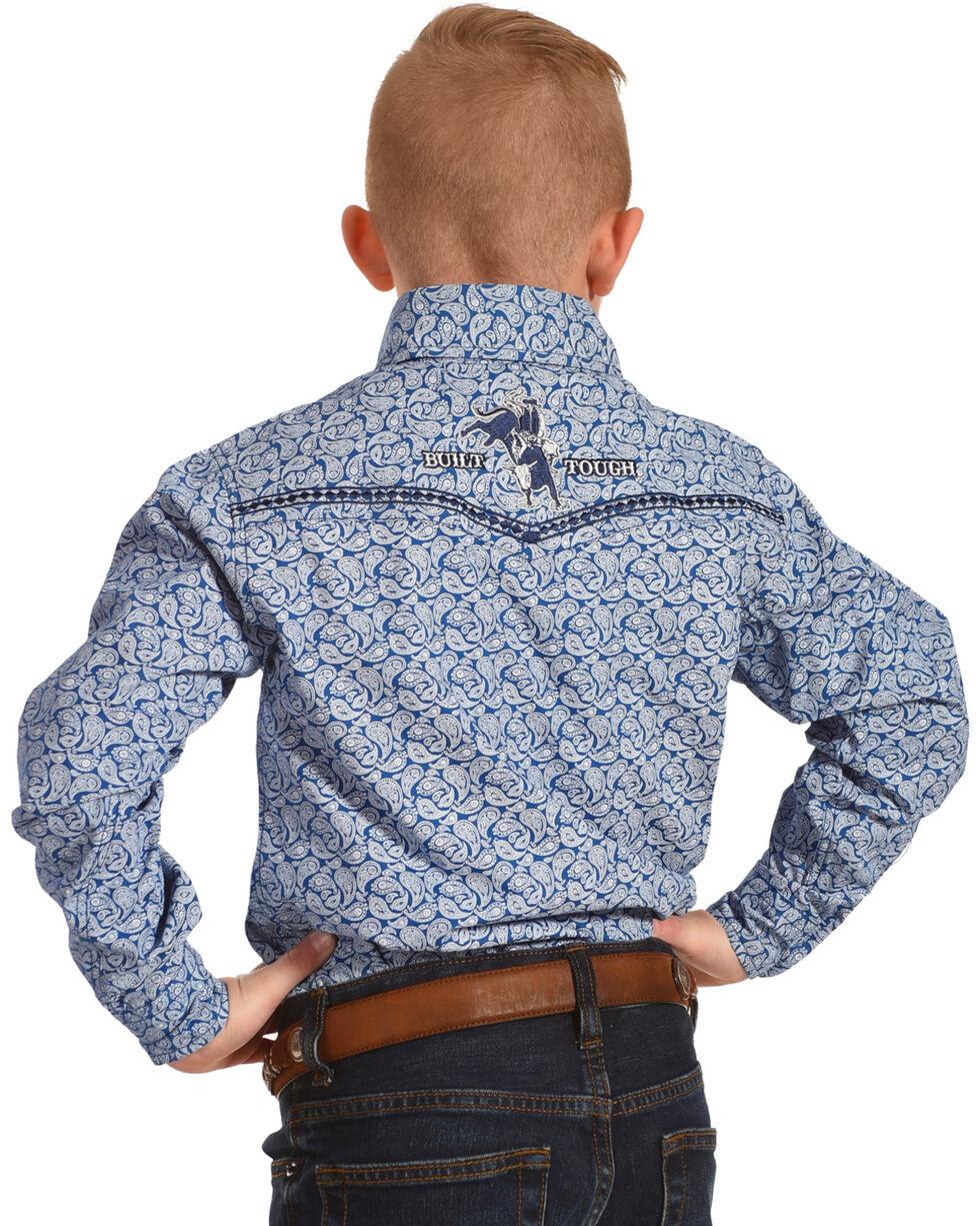 Cowboy Hardware Boys' Blue Mini Paisley Print Western Shirt , Blue, hi-res
