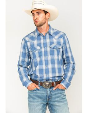 Cody James Men's Snap Button Plaid Long Sleeve Western Shirt, Blue, hi-res