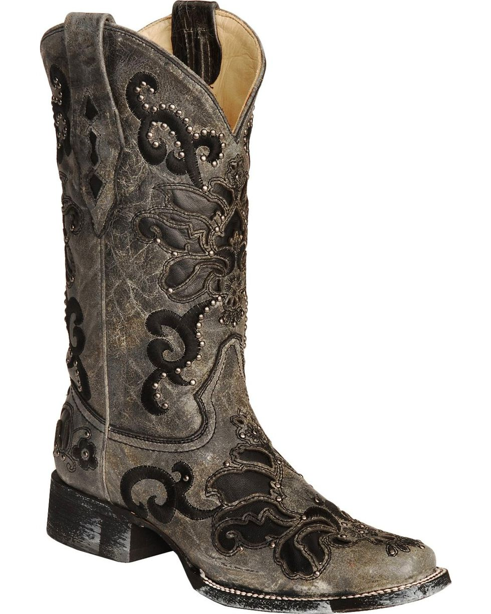 Corral Women's Crater Inlay and Studs Square Toe Western Boots, Black, hi-res