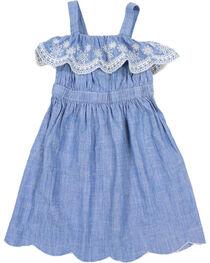 Shyanne® Girls' Scalloped Denim Dress, Blue, hi-res