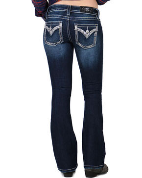 Miss Me Women's Rhinestones and Pearls Signature Boot Cut Jeans, Blue, hi-res