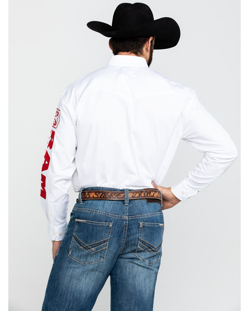 Wrangler Men's Long Sleeve RAM Rodeo Series Western Shirt, White, hi-res