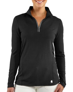 Carhartt Women's Force Performance Zip Shirt, Black, hi-res