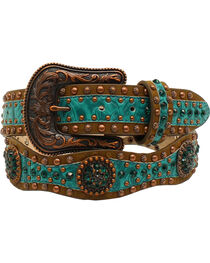 Ariat Scallop Floral Embossed Concho Belt, , hi-res