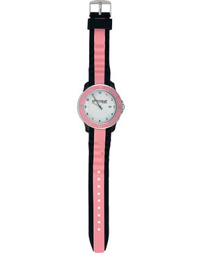 Montana Silversmiths Brown & Pink Silicone Watch, Silver, hi-res