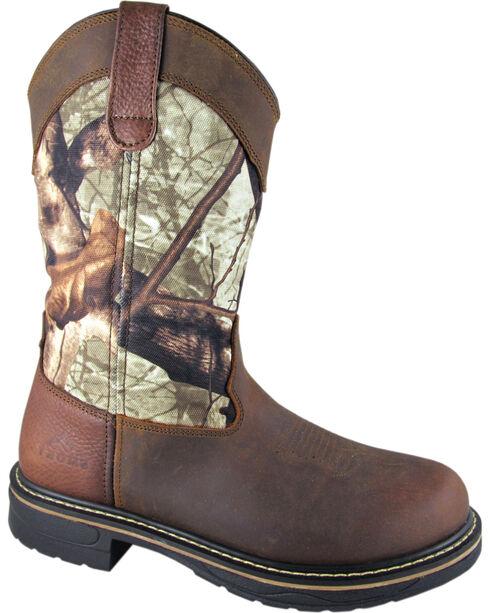 Smoky Mountain Men's Stage Camo Wellington Work Boots - Round Toe, Crazyhorse, hi-res