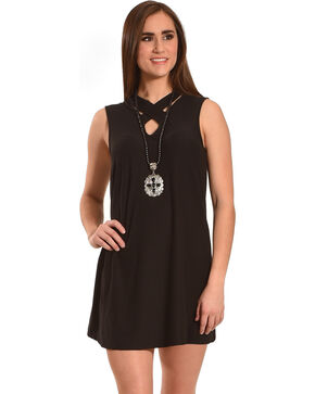 Derek Heart Women's Black Criss Cross Neck Dress , Black, hi-res