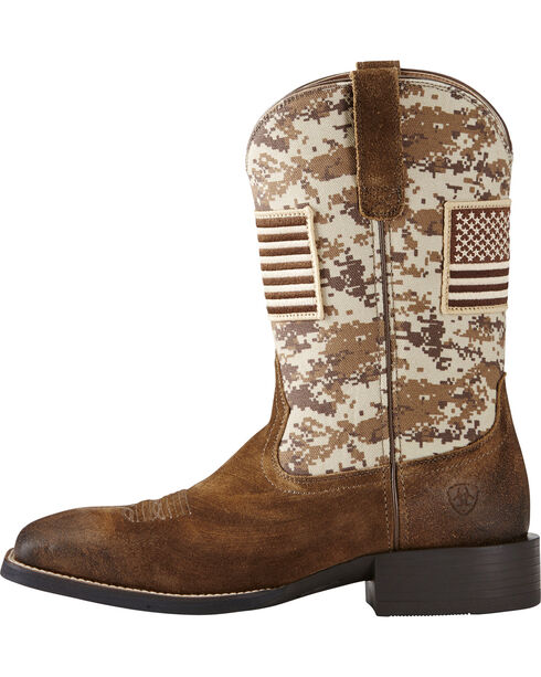 Ariat Men's Camo Patriot Western Boots, Brown, hi-res
