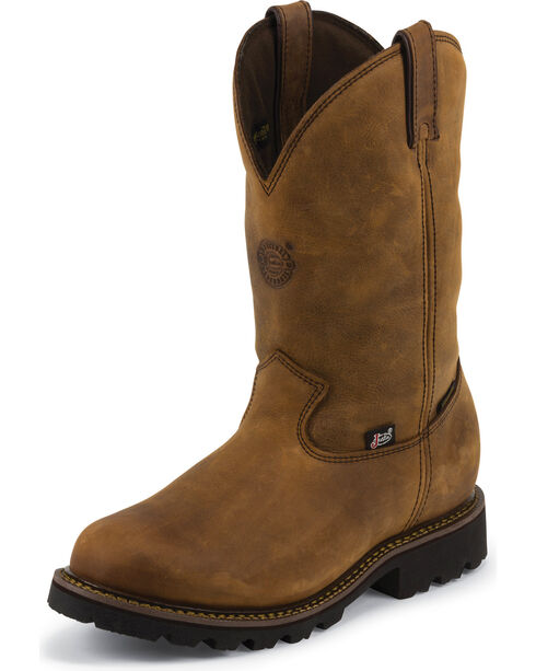 Justin Original Workboots Stag Gaucho Waterproof Insulated Pull-On Work Boots - Soft Round Toe , Gaucho, hi-res