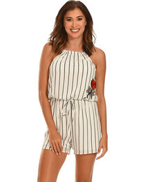 Ces Femme Women's Striped Halter Top Romper , , hi-res