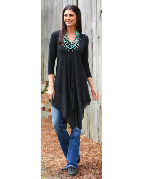 Wrangler Women's Black 3/4 Sleeves Tunic , Black, hi-res