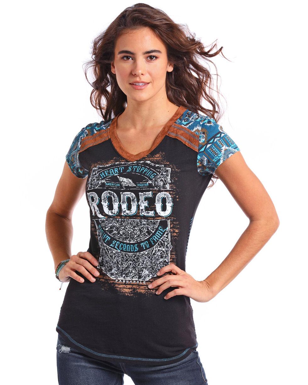 Panhandle Women's Black Aztec Rodeo Graphic Top, , hi-res