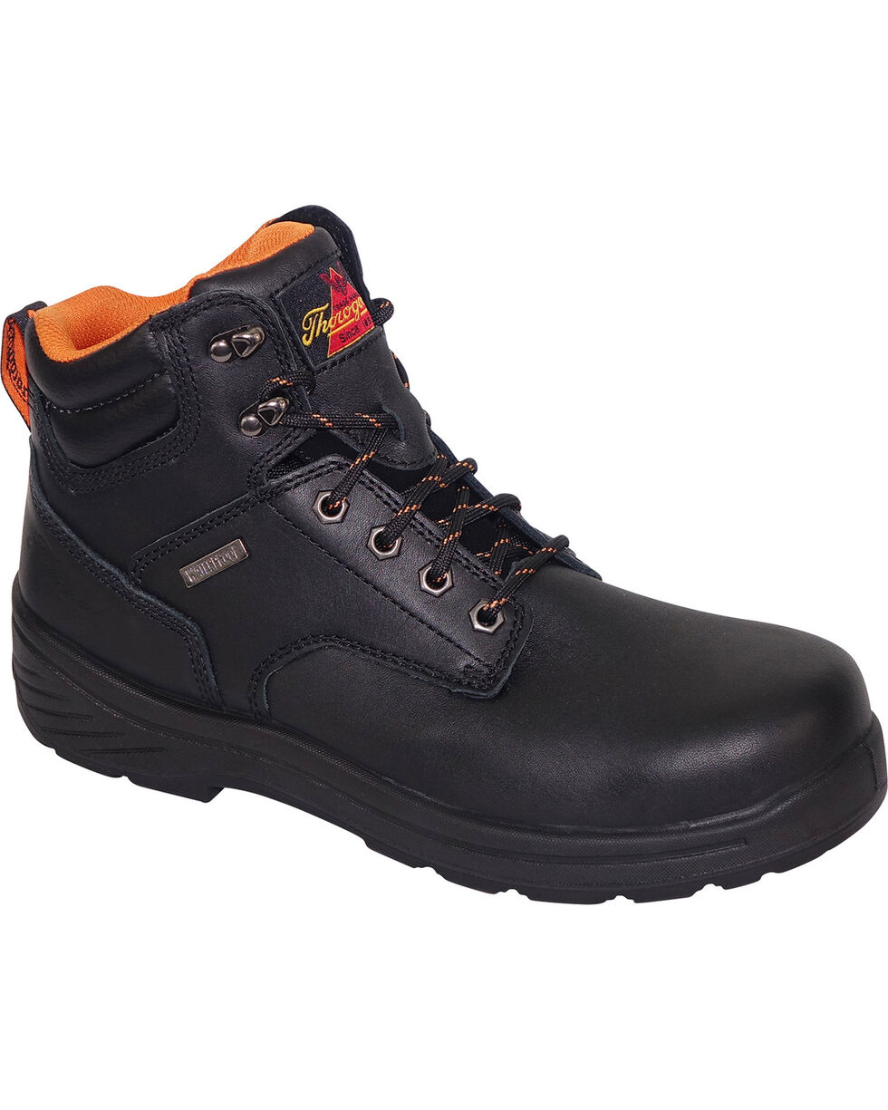 "Thorogood Men's 6"" Waterproof Work Boot - Composite Toe, Black, hi-res"