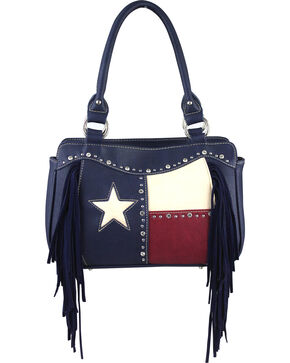 Montana West Women's Texas Star with Fringe Croessbody Handbag, Navy, hi-res
