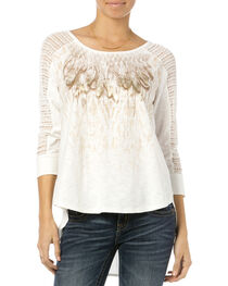 Miss Me Women's Feathery Friends Crochet Sleeve Top, , hi-res