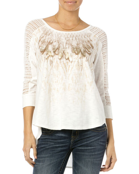 Miss Me Women's Feathery Friends Crochet Sleeve Top, Natural, hi-res