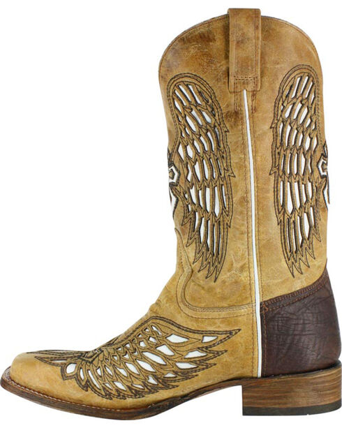 Corral Men's Square Toe Wing and Cross Inlay Western Boots, Tan, hi-res