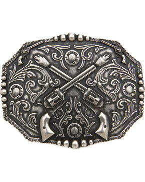 Cody James®  Men's Dual Pistol Belt Buckle, Silver, hi-res