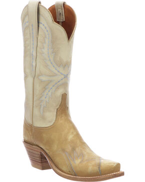 Lucchese Women's Shelley Winter Camel Cowhide Stitched Wingtip Cowgirl Boots - Snip Toe, Cream, hi-res