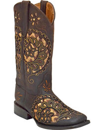 Ferrini Women's Paisley Pattern Boots - Square Toe , , hi-res