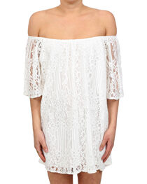 Glam Women's White Mojave Off The Shoulder Dress , , hi-res
