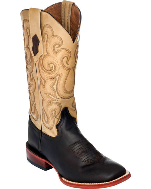 Ferrini Women's Floral Embroidery Western Boots, Chocolate, hi-res