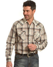 Ely Cattleman Men's Tan Lurex Plaid Long Sleeve Snap Shirt, Tan, hi-res