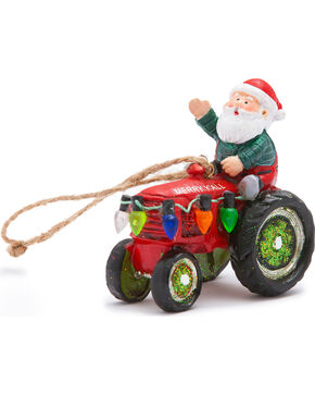 BB Ranch Santa Tractor Ornament, No Color, hi-res